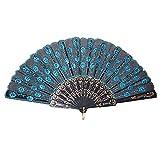 Sonline Peacock Pattern Sequin Fabric Hand Fan Decorative Blue Color