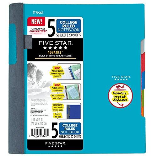 irale Notebook, 5Thema, College liniert Papier, 2Blatt, Farbe wird variieren (6326) 1 Packung blaugrün (Spirale Notebook)