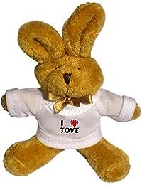 Conejito de peluche (llavero) con Amo Tove en la camiseta (nombre de pila/apellido/apodo)
