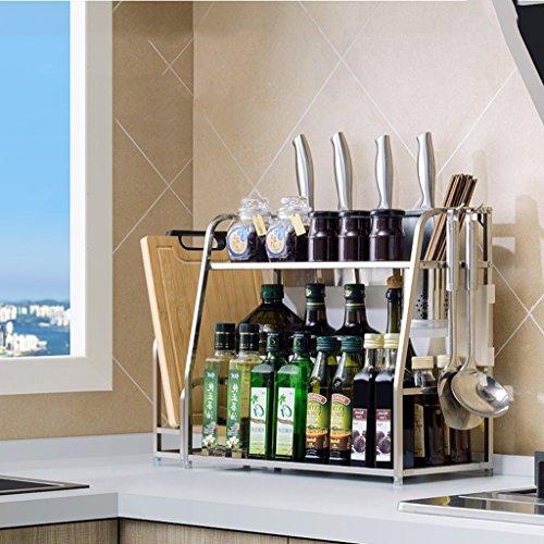 Storage rack. porta spezie, portaoggetti da cucina, porta coltello in acciaio inox 304 portaoggetti da cucina porta spezie multi-funzione (colore : b, dimensioni : 42 * 40cm)