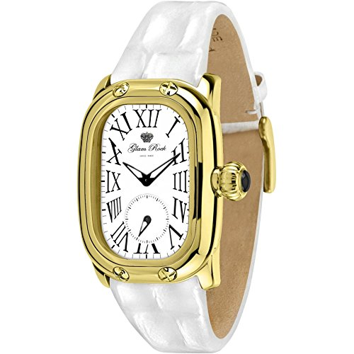 Glam Rock Women's Monogramme White Leather Band Gold Plated Case Swiss Quartz Analog Watch GR72310N