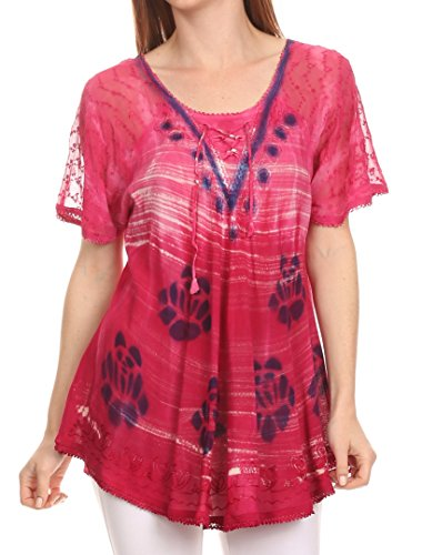 Sakkas 16789 - Reya Lace Embroidered Cap Sleeve Corset Tie Dye Blouse Top Shirt- Rosa-OSP (Sandalen Womens Importiert Casual)