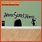 Mäuseaufkleber, Wand-Aufkleber Maus, Wandtattoo für Fussleiste / Wand / Treppe etc. ca. 20 cm breite Maus mit Schriftzug