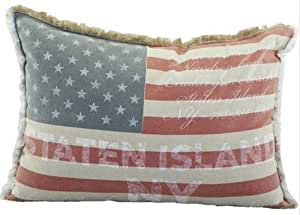 Grand coussin rectangulaire USA NY VINTAGE 60x40cm