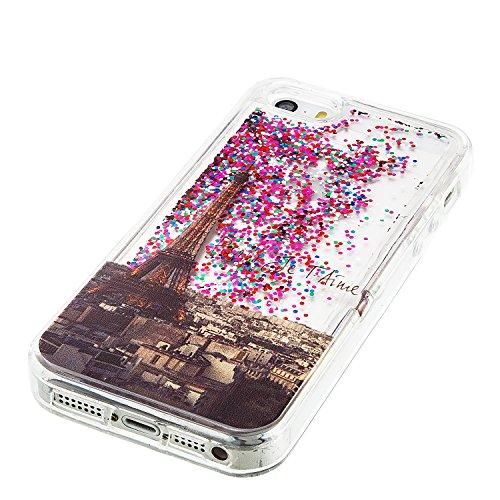 Coque iPhone SE , Glitter Liquide TPU Etui Coque pour iPhone 5S , CaseLover Eiffel Tour Motif Mode Etui Coque Dynamic Etoiles Paillettes Sable TPU Slim pour Apple iPhone 5 / 5S / SE Mode Flexible Soup Eiffel Tour