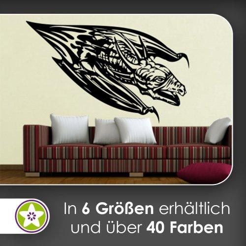 Drachen Flug Wandtattoo in 6 Größen - Wandaufkleber Wall Sticker (Schädel-flüge)