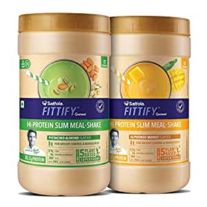 Saffola FITTIFY Gourmet Hi-Protein Slim Meal Shake for Weight Management(Combo)- 840 gm (Pistachio Almond + Alphanso Mango)