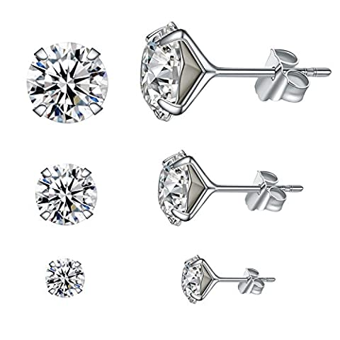 YAN & LEI Sterling Silver Ear Studs Set of 3 with Swarovski Crystal in 4,6,8 mm