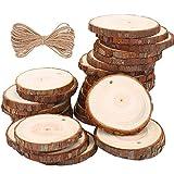 Rodajas de Madera Círculos 6-7cm 30 pezzi TICOSH Discos de Madera Rebanada 10m Cuerda de Cáñamo Maderas Naturales Perforado Con Corteza de Árbol Para Manualidades