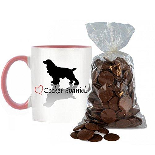 Stilvolle Herz Design Cocker Spaniel bicolor Becher mit Griff und innen Rosa inkl. 200g Beutel von Milch Schokolade Tasten. -