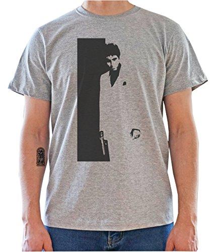 Scarface - Tony Montana / Black & White Artwork Mens T-Shirt Gris