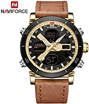 Naviforce Men's Gold Dial Genuine Leather Analogue Classic Watch - NF9132-G