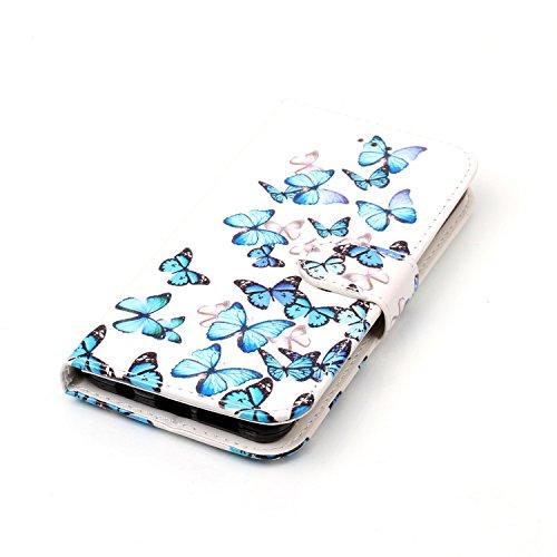 Samsung Galaxy A3 2016 Custoida in Pelle Portafoglio,Samsung Galaxy A3 2016 Cover Pu Wallet,KunyFond Lusso Moda Marmo Dipinto Leather Flip Protective Cover con Bella Modello Cover Custodia per Samsung Piccola farfalla blu