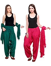 Fashion Store Women Cotton Patiala Salwar With Dupatta Combo Of 2(Free Size Pink & Dark Green)