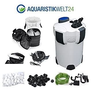 Aquaristikwelt24 Aquarium Außenfilter Filter 1400 L/h bis 700l Becken + KOSTENLOSES Filtermaterial: Filterwatte, 40 BioBalls und 120 Keramik Ringe!