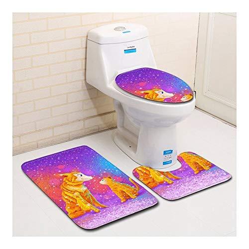 HONGYUANZHANG Hund Und Katze Toilette Bodenmatte Toilettensitz Dreiteilige Badezimmer...