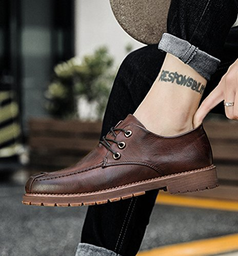 Anguang Hommes Lacer Milieu Chaussures Multi-style Loisir Cuir Assiette Chaussures Marron 3