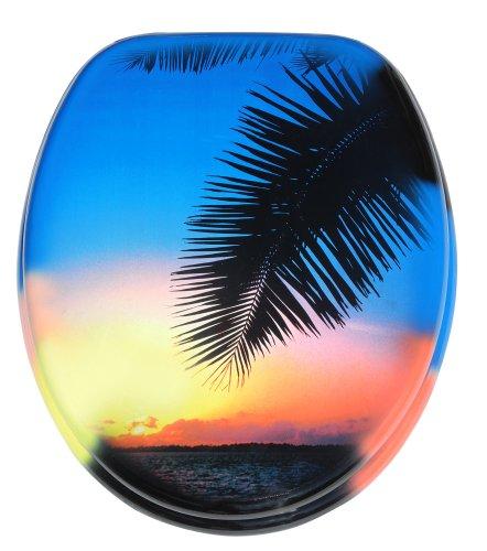 Preisvergleich Produktbild WC Sitz mit Absenkautomatik, hochwertige Oberfläche, einfache Montage, stabile Scharniere, Palm Beach