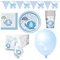 Oxford Novelties Blue Elephant Boy Baby Shower Party Tableware & Decor - 82 Piece For 16 Persons