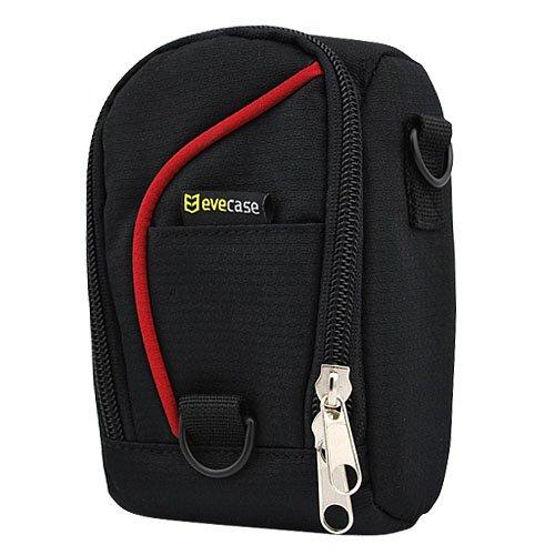Evecase Etui nylon de protection durable avec courroie pour l'appareil photo numérique - Noir / Rouge