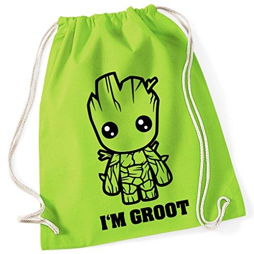 Guardians of the Galaxy Comic GROOT / Turnbeutel mit Fun Motiv Aufdruck / Rucksack GYM Jutebeutel / Ideales Geschenk, Color:Lime Green (Grün) - (Kostüme Groot Kinder Für)