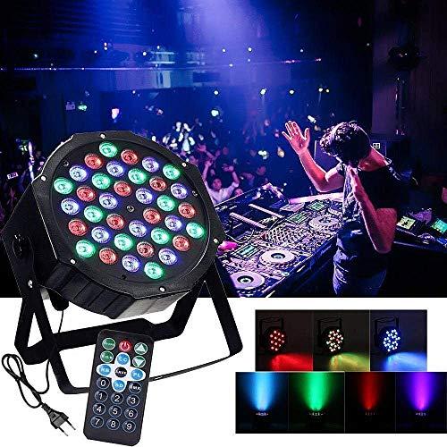 AONCO 36 LED Scheinwerfer Par Strahler, Discolicht, DJ Strobe Light, Bühnenbeleuchtung, Lampe, RBG mixing, 36W, DMX In/Out, 7 DMX Modi, 2 Fernsteuerungen Standard-strobe Light