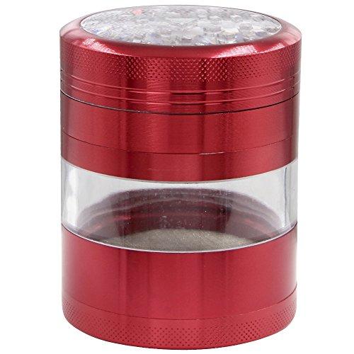 DCOU Grande alluminio Spice Herb Grinder - Impianto Grinder - Collettore di polline con coperchio magnetico e polline Catcher, 4 pezzi, 2,5 pollici (Red)