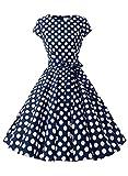 Dressystar Damen Vintage 50er Cap Sleeves Dot Einfarbig Rockabilly Swing Kleider Marineblau Weiß Dot B XS