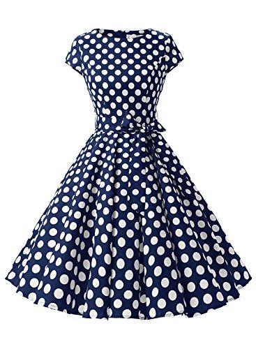 Dressystar Damen Vintage 50er Cap Sleeves Dot Einfarbig Rockabilly Swing Kleider Marineblau Weiß Dot B