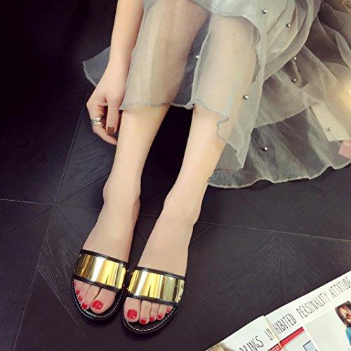 Amlaiworld Donna moda estate Flat infradito sandali mocassini Boemia scarpe nero