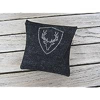zigbaxx Dirndl-Bag PLATZHIRSCH / Gürteltasche, Tasche, Dirndl-Tasche aus Wollfilz mit Hirsch aus Strass & Studs, grau / anthrazit-schwarz / pink / beige