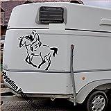 Pferd mit Reiter Aufkleber Anhänger Pferd Anhänger ca. 60cm