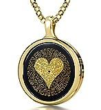 14k Gelbgold Ich liebe dich Halskette Graviert in 120 Sprachen mit 24K (Keine Vorschläge) auf rundem Onyx-Anhänger, 45cm Gold-filled Kette