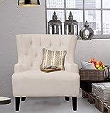 Iconic Home Hemingway Modern getuftet taupe Samt Accent Stuhl mit Beine aus solider Eiche, Oversized