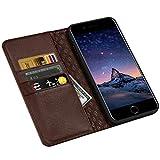 ZOVRE iPhone 6S/6 Plus Hülle Echt Leder Tasche für iPhone 6S/6 Plus(5.5 Zoll) Handyhülle im Bookstyle mit Magnet Kartenfächer Standfunktion - Dunkelbraun