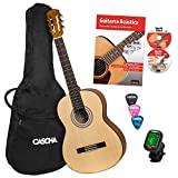 CASCHA Student Series 4/4 Guitarra Clásica para principiantes, incl. libro de texto, afinador, gigbag/bag, 3 picos, clásica para niños a partir de 10 años para principiantes, cuerdas de nylon