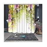 AieniD Badezimmer Deko Retro Blumen Und Schmetterlinge Mehrfarbig Bad Vorhang Size:150X180CM
