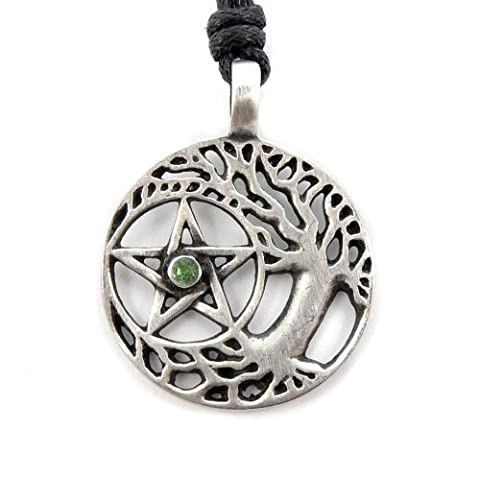 Mystical & Magical Pewter Druid Tree of Life Celtic Sacred Pentagram Pentacle Wiccan Pagan On Black Rope Necklace Pendant