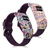 kwmobile 2in1 Set: 2X Sport Armband Schutzhülle für Fitbit Charge/Charge HR Innenmaße: ca. - Silikon Hülle Cover Ohne Tracker in Mehrfarbig Pink Weiß