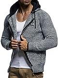 LEIF NELSON Herren Kapuzenpullover Strickjacke Hoodie Pullover mit Kapuze Sweatjacke Sweater Zipper Sweatshirt LN7055; Größe M, Schwarz-Ecru