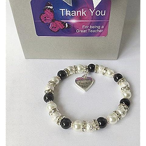 Gracias Maestro–Pulsera Regalo y caja de regalo–negro y blanco pulsera joyas