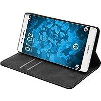 Cubierta de cuero artificial para Huawei P9 - Bookstyle negro - Cover PhoneNatic Cubierta + protector de pantalla