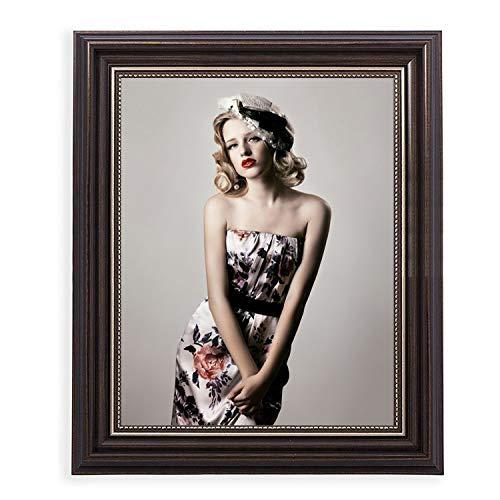HUIXIANG Bilderrahmen 20x25 Vintage Fotorahmen Shabby Chic Retro Wand Hängend oder Tischplatte Rustikal Posterrahmen für Foto 25x20cm Geschenk für Mama Freunde Paar Verlobt Hochzeit Jahrestag (Braun)