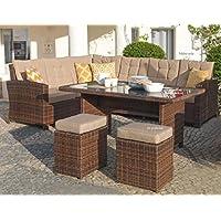 Mojawo Luxus Ecklounge 5 Teilig Gartenmöbel Rattan Set Eck Sofa Garten  Sitzgruppe Lounge Gartengarnitur Gartentisch