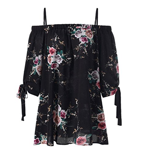 Verkauf Damen Tops Mode Plus Size Blumendruck Cold Shoulder Bluse Casual Tops Camis (EU-42/CN-XL, Schwarz) (Herz Dame Plus Size)