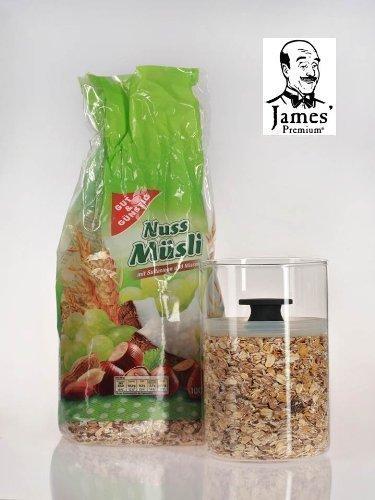 müslidose,Ceralienglasdose,Vorratsdose für Ihr Powerfrühstück von James Premium®