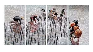 tableau cadre asiatique piqueuze de riz vietnam