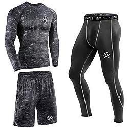 MEETEU 3Pcs Conjunto de Compresión Hombre Camiseta Compresión Deportiva Running Pantalones Compresión Largos Leggings Hombre Fitness para Ciclismo Gym