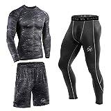 MEETEU Ensemble de Compression Homme, Quick Dry T-Shirt sous-vêtements Legging Sport...