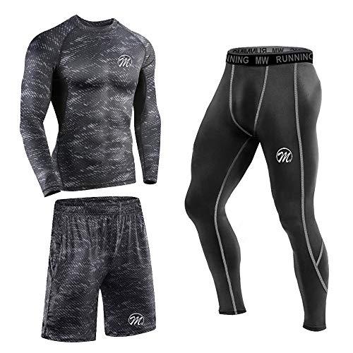 MEETEU 3pcs Funktionsshirt Herren, Kompression Set Funktionswäsche, Laufhose Tights Herren Leggings Sport Shorts, Sportbekleidung Set für männer